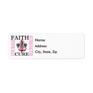 Fleur De Lis 3 Breast Cancer Return Address Label