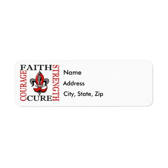 Fleur De Lis 3 Heart Disease Return Address Label