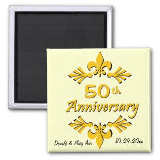 Fleur De Lis 50th Anniversary Party Favors Fridge Magnets