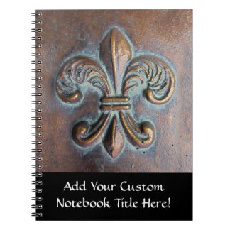 Fleur De Lis, Aged Copper-Look Printed Notebook