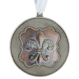 Fleur De Lis, Aged Copper-Look Printed Scalloped Pewter Ornament