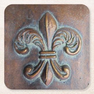 Fleur De Lis, Aged Copper-Look Printed Square Paper Coaster