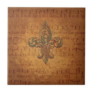 Fleur de lis and sheet music tile