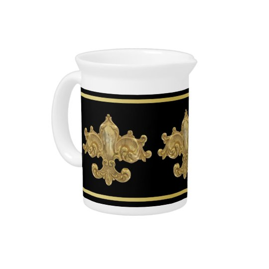 Fleur de Lis Antique Gold Beverage Pitchers