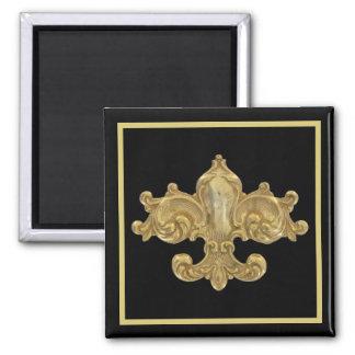 Fleur De Lis Antique Gold Square Magnet