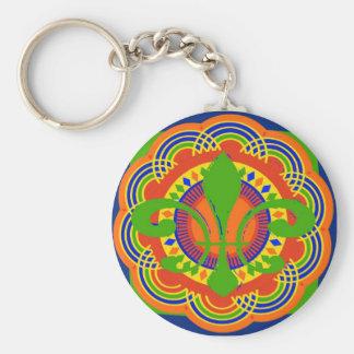 Fleur De Lis Art Deco Basic Round Button Keychain