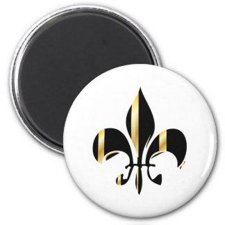 Fleur de Lis/black + gold 2 Inch Round Magnet