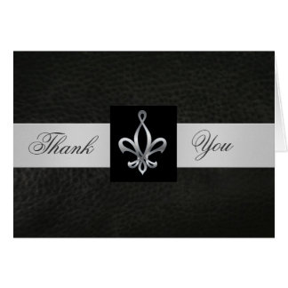 Fleur De Lis Black Leather Thank You Card