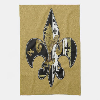Fleur de lis bling black, white and gold towel