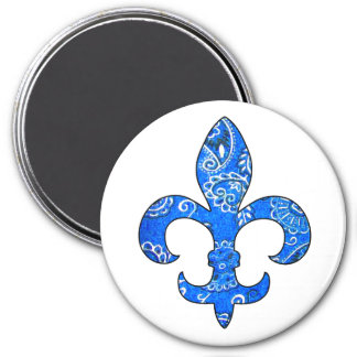 Fleur de lis Blue Bandana Magnet