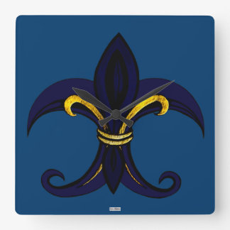 Fleur de Lis Blue/Gold Square Wall Clock