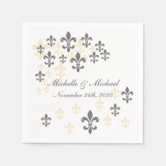 Fleur de Lis Cascade Cocktail Napkins Paper Napkin