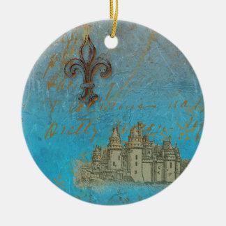 Fleur de lis Castle Christmas Ornament