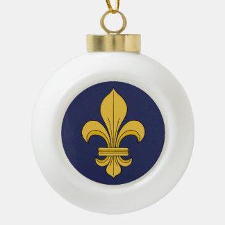 Fleur-de-Lis Ceramic Ball Christmas Ornament