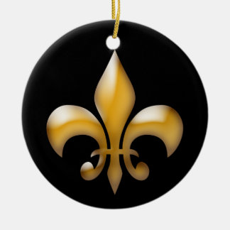 Fleur de Lis Christmas Ornament in Black and Gold