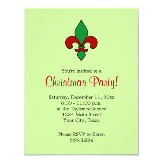 Fleur de Lis Christmas Party Invitation