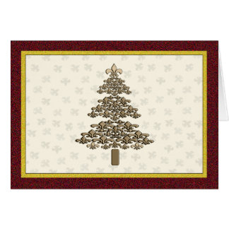 Fleur de Lis Christmas Tree Greeting Card