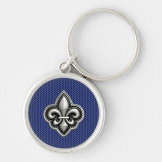 Fleur de Lis Cobalt Blue Keychain