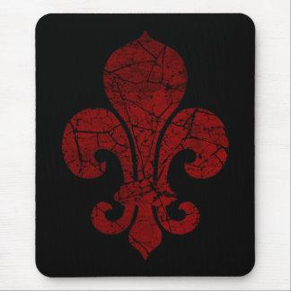 fleur-de-lis-cracked_red mouse pad
