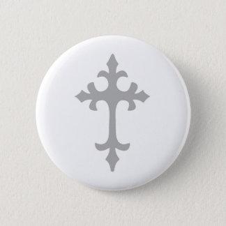 Fleur de Lis Cross 2 Inch Round Button