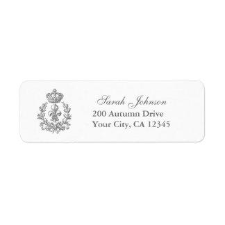Fleur-de-lis, Crown and Wreath Return Address Label