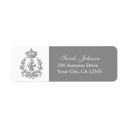 Fleur-de-lis, Crown and Wreath Return Address Label