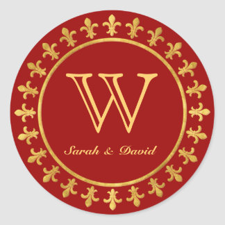 Fleur-de-lis Customizable Monogram Classic Round Sticker