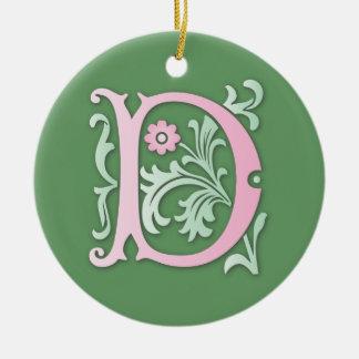 Fleur-de-lis D Monogram Round Ceramic Ornament