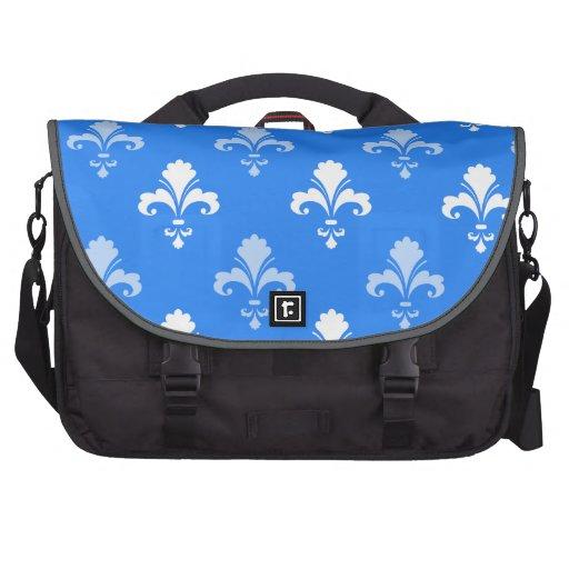 Fleur-De-lis de bleu de ciel et blanc Sacoche Ordinateurs Portables