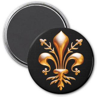 Fleur de Lis (de Lys) 3 Inch Round Magnet