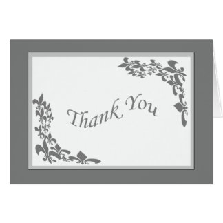 Fleur de Lis Design Thank You (grey) Card