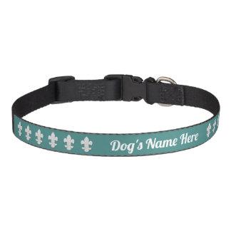 Fleur-de-lis Dog's Name Your Background Color Pet Collar
