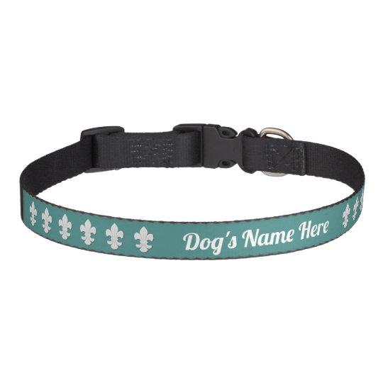 Fleur-de-lis Dog's Name Your Background Colour Pet Collar