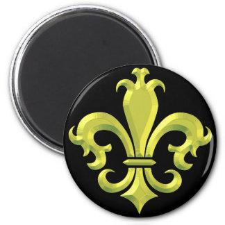 Fleur De LIs Fancy Gold New Orleans 2 Inch Round Magnet