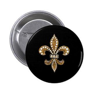Fleur De Lis Flor  New Orleans Customize Gold 2 Inch Round Button