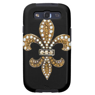 Fleur De Lis Flor  New Orleans Customize Gold Galaxy SIII Cases