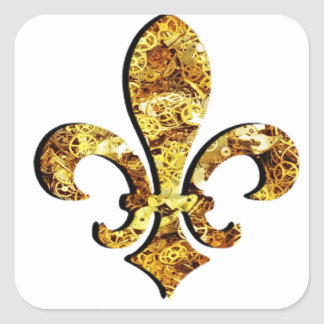 Fleur De Lis Flor  New Orleans Gold Gears Square Sticker