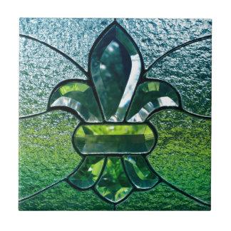 Fleur De Lis Flor  New Orleans Green Sparkle Tile