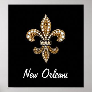 Fleur De Lis Flor  New Orleans Poster Gold Black