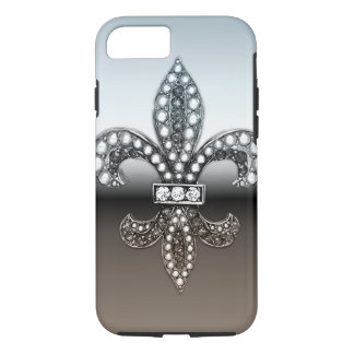 Fleur De Lis Flor New Orleans Silver Black iPhone 8/7 Case