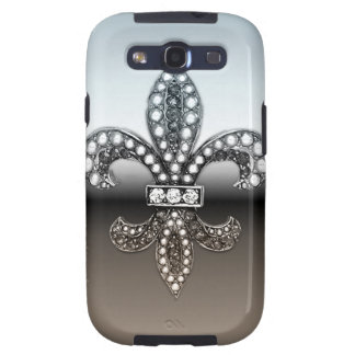 Fleur De Lis Flor  New Orleans Silver Black Samsung Galaxy S3 Covers