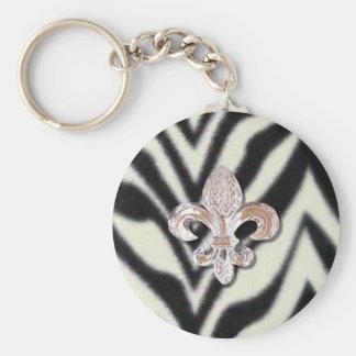 Fleur De Lis Flor  Zebra Print Keychain