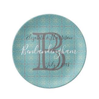 Fleur-de-lis floral tile pattern Porcelain Plate