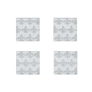 Fleur de Lis French Script Stone Magnets