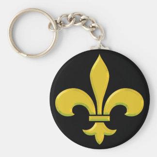 fleur-de-lis Gold Bevel Keychain