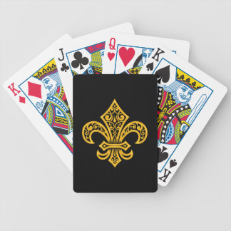 Fleur de Lis, Gold/Black Bicycle Playing Cards