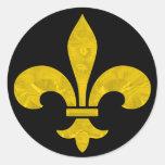 Fleur De Lis Gold Leaf Cut Round Sticker