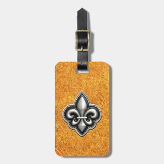 Fleur de Lis Gold Leather Look Luggage Tag