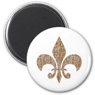 Fleur de Lis :  Gold n Silver Engraved 2 Inch Round Magnet