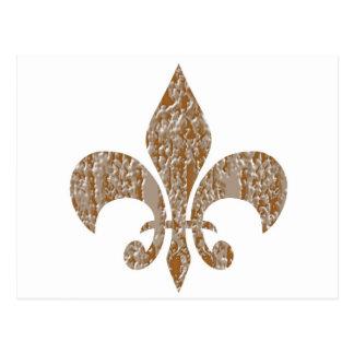 Fleur de Lis :  Gold n Silver Engraved Postcard